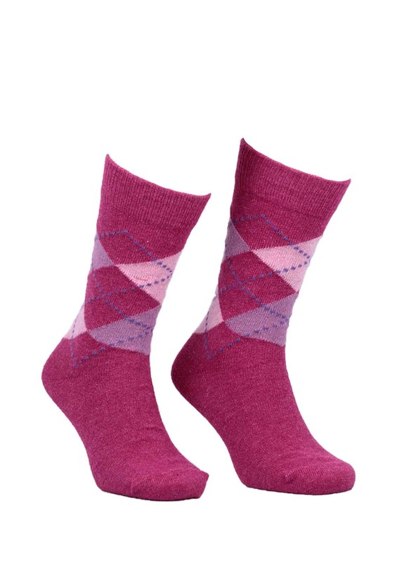 DÜNDAR - Dündar Dikişsiz Desenli Çorap 024 | Fuşya