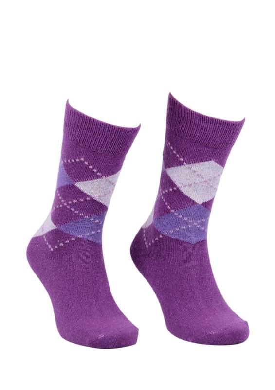 DÜNDAR - Dündar Dikişsiz Desenli Çorap 024 | Mürdüm