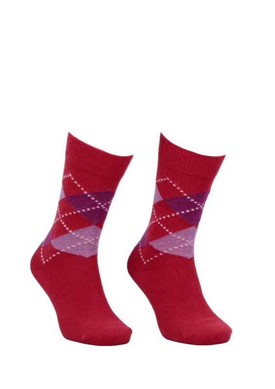 DÜNDAR - Dündar Dikişsiz Desenli Çorap 024 | Kırmızı