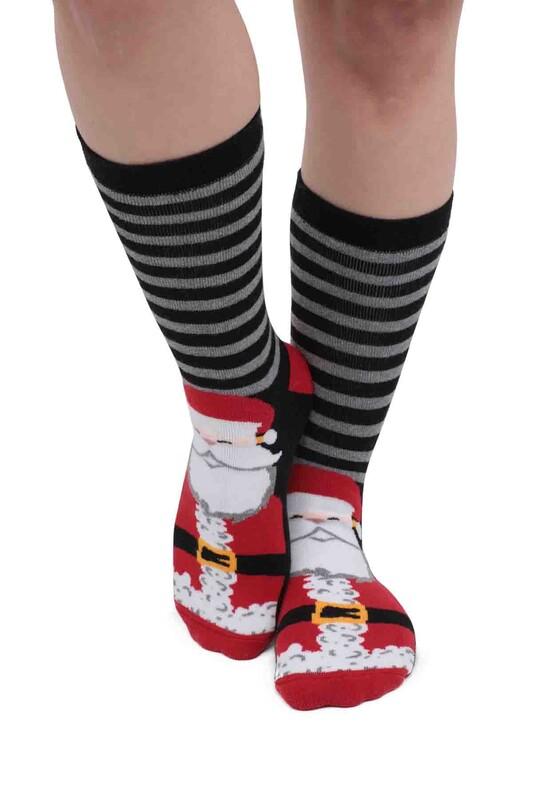 SARA DONNA - Noel Baba Desenli Kadın Havlu Çorap   Siyah