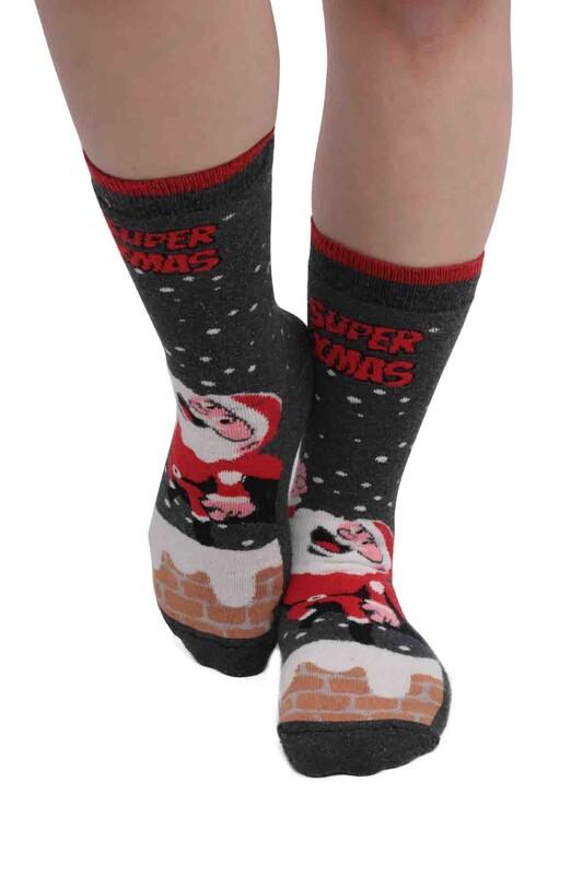 SARA DONNA - Desenli Kadın Havlu Çorap | Gri