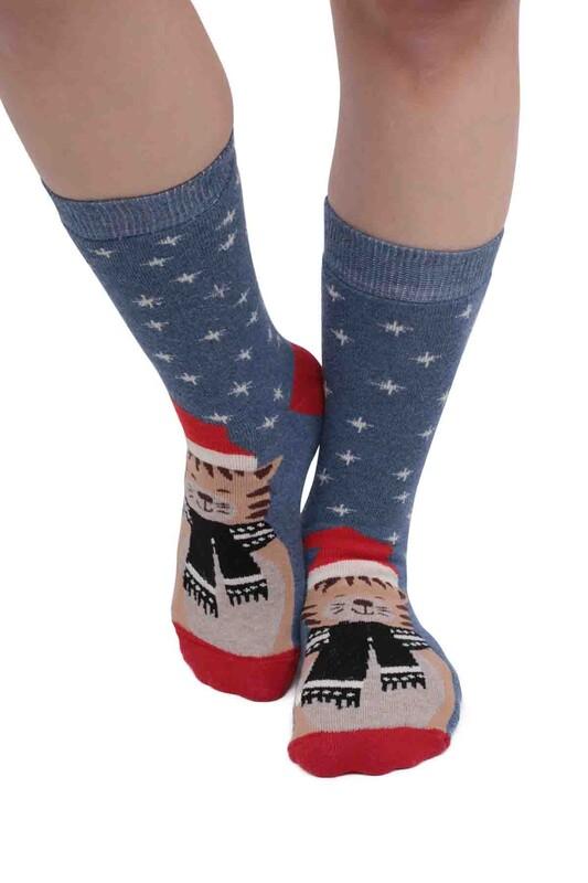 SARA DONNA - Kedi Desenli Kadın Havlu Çorap   Mavi