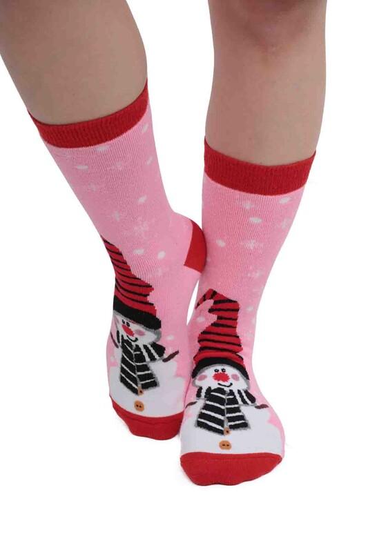 SARA DONNA - Kardan Adam Desenli Kadın Havlu Çorap   Pembe