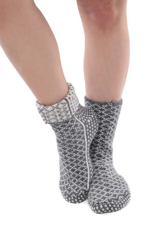 SARA DONNA - Termal Kadın Yün Çorap   Gri