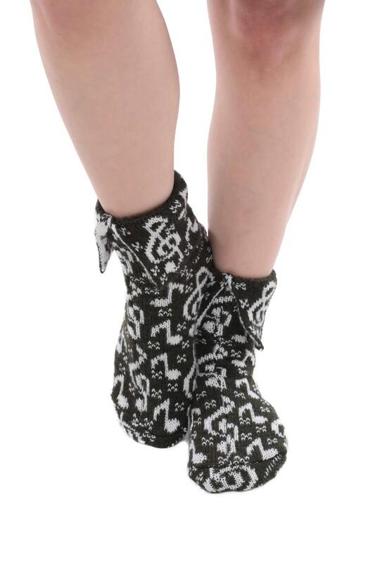 SARA DONNA - Nota Desenli Kadın Termal Yün Çorap | Yeşil