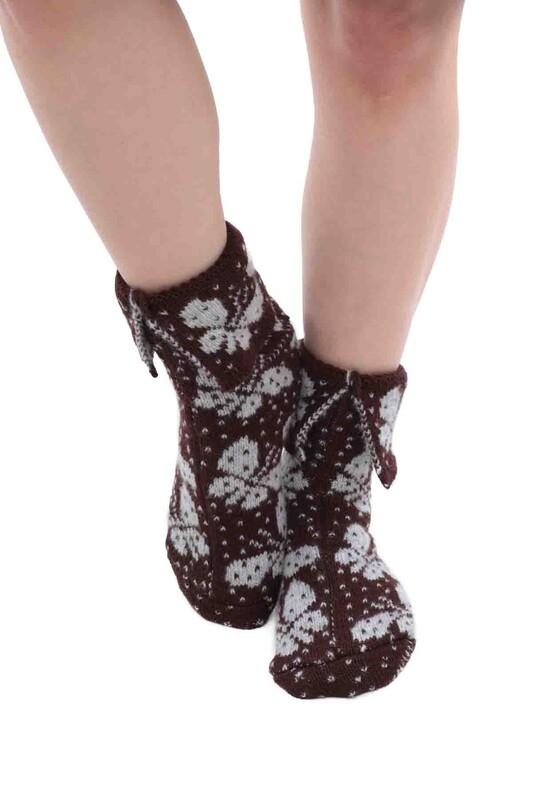 SARA DONNA - Kelebek Desenli Termal Kadın Yün Çorap | Kahverengi