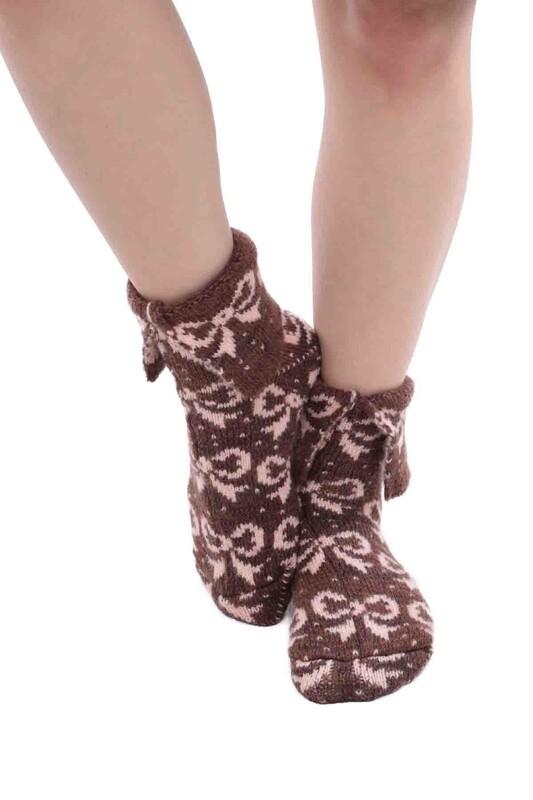 SARA DONNA - Kurdele Desenli Termal Kadın Yün Çorap | Kahverengi