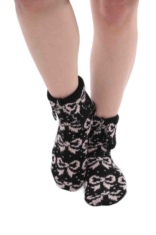 SARA DONNA - Kurdele Desenli Termal Kadın Yün Çorap | Krem