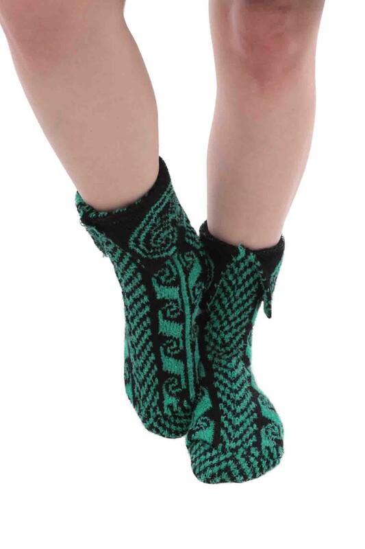 SARA DONNA - Simli Termal Kadın Yün Çorap   Yeşil