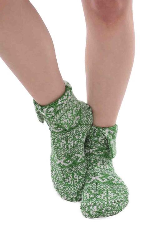 SARA DONNA - Desenli Termal Kadın Yün Çorap   Yeşil
