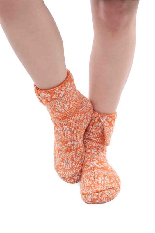 SARA DONNA - Desenli Termal Kadın Yün Çorap | Turuncu