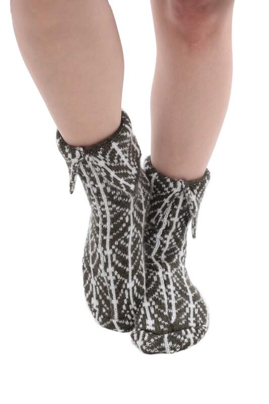 SARA DONNA - Desenli Kadın Termal Yün Çorap 4002   Yeşil