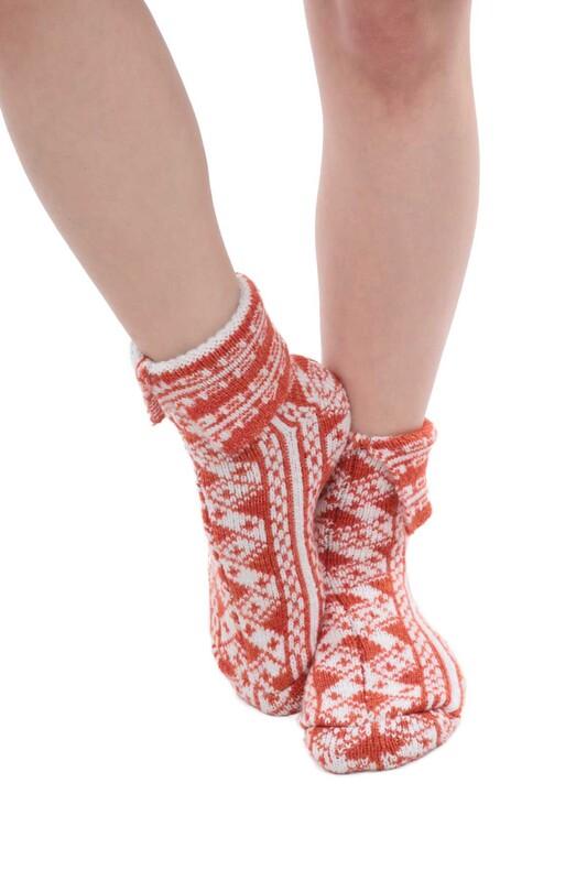 SARA DONNA - Desenli Kadın Termal Yün Çorap 4003 | Turuncu