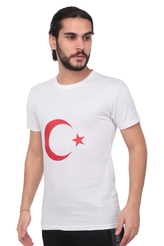 SİMİSSO - Simisso Yuvarlak Yakalı Kısa Kollu Türk Bayrağı T-Shirt 325 | Beyaz