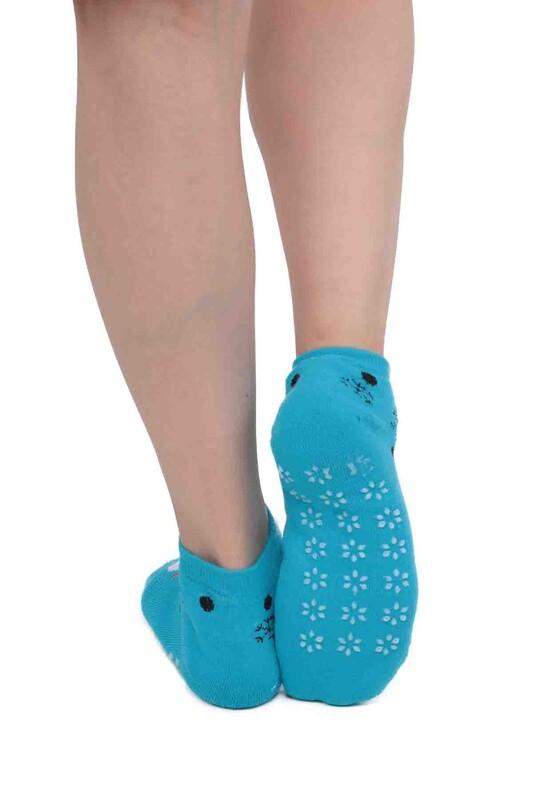 SİMİSSO - Gülen Yüz Desenli Kadın Termal Havlu Patik Çorap 3060 | Mavi
