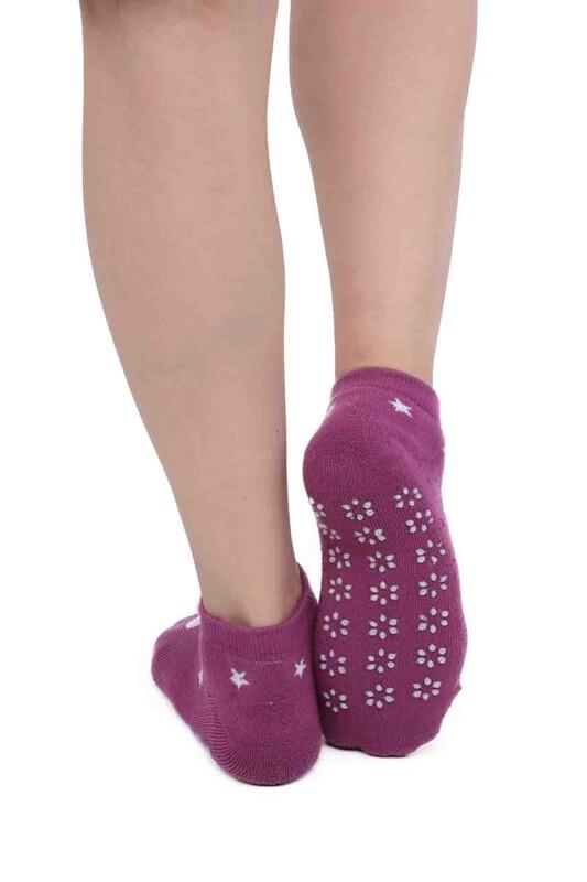 SİMİSSO - Tavşan Desenli Kadın Termal Havlu Patik Çorap 3060 | Mor
