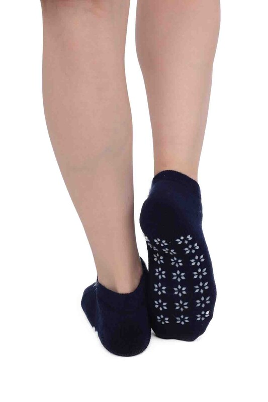 SİMİSSO - Kar Tanesi Desenli Kadın Termal Havlu Patik Çorap 3060 | Lacivert