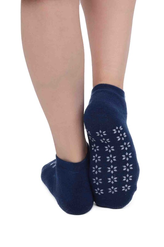 SİMİSSO - Kar Tanesi Desenli Kadın Termal Havlu Patik Çorap 3060 | Mavi