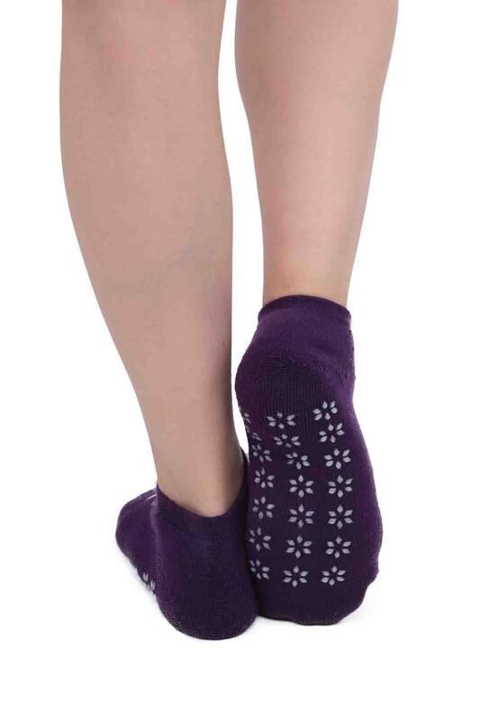 SİMİSSO - Kar Tanesi Desenli Kadın Termal Havlu Patik Çorap 3060 | Mürdüm