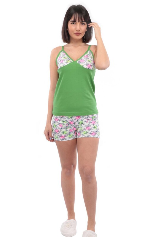 POLKAN - Polkan Kelebek Desenli Kadın Şortlu Takım 7759 | Yeşil