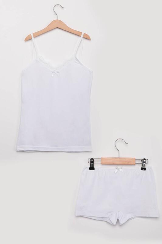 SİMİSSO - Kadın Şortlu Takım 1025   Beyaz