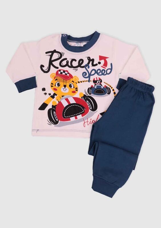 BİLKON - Racer Baskılı Bebek 2'li Takım | Lacivert