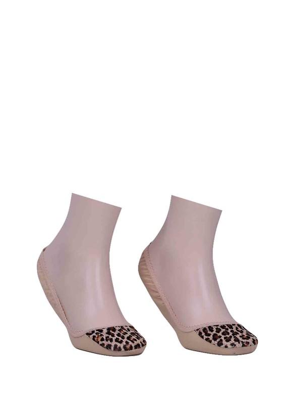 CALZE VİTA - Calze Vita Leoparlı Babet Çorap 339 | Krem