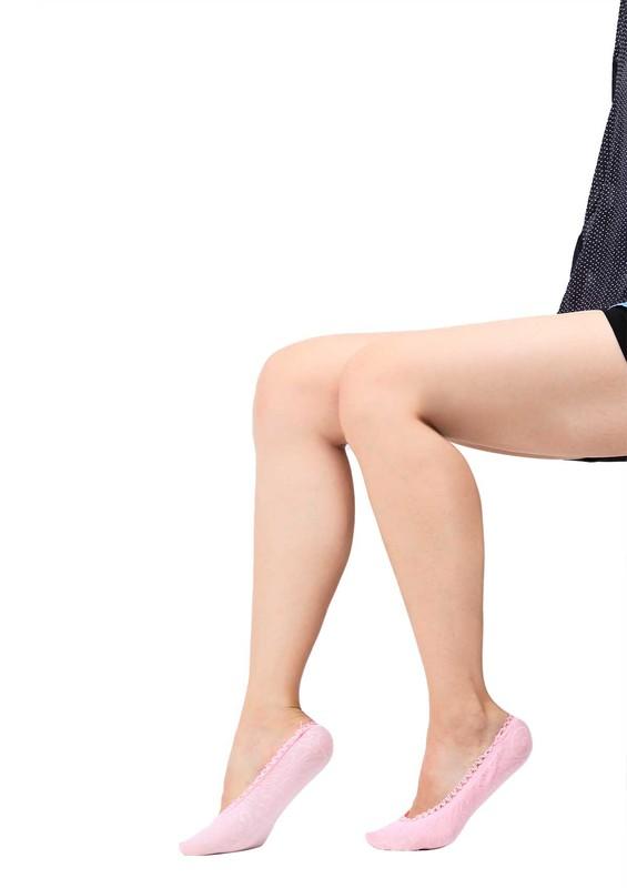 DORE - Dore Desenli İşlemeli Babet Çorap 290 | Pudra
