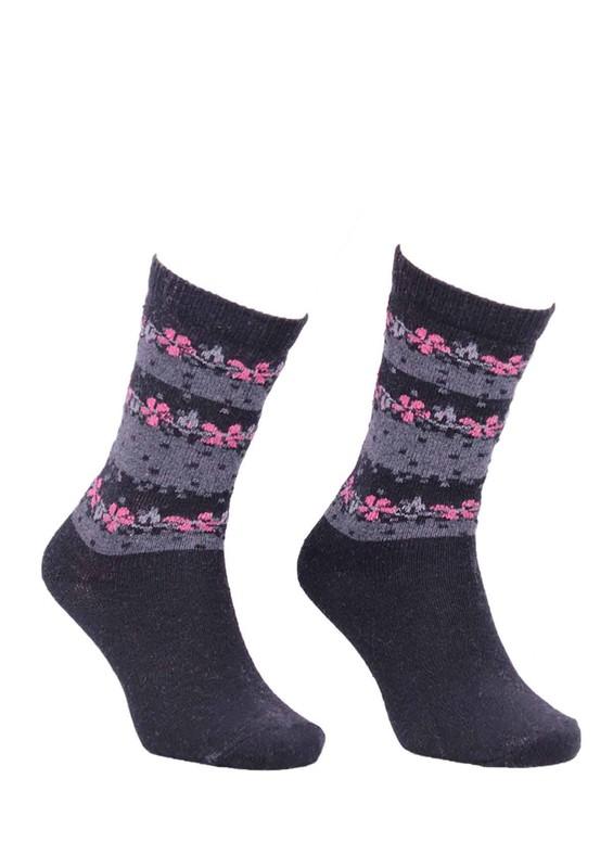 ÖZMEN - Desenli Yün Çorap 3011 | Siyah