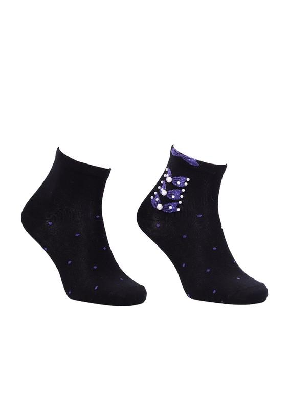 PİER VİO - Pier Vio İncili Desenli Soket Çorap 137 | Mor