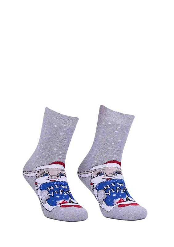 SARA DONNA - Yazılı Baskılı Gri Çorap 949 | Gri