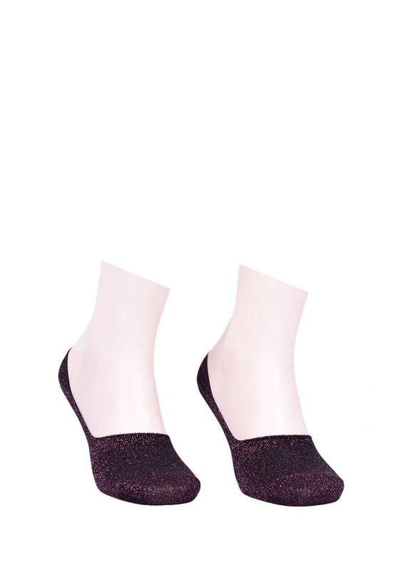 SARA DONNA - Desenli Patik Çorap 400 | Mürdüm