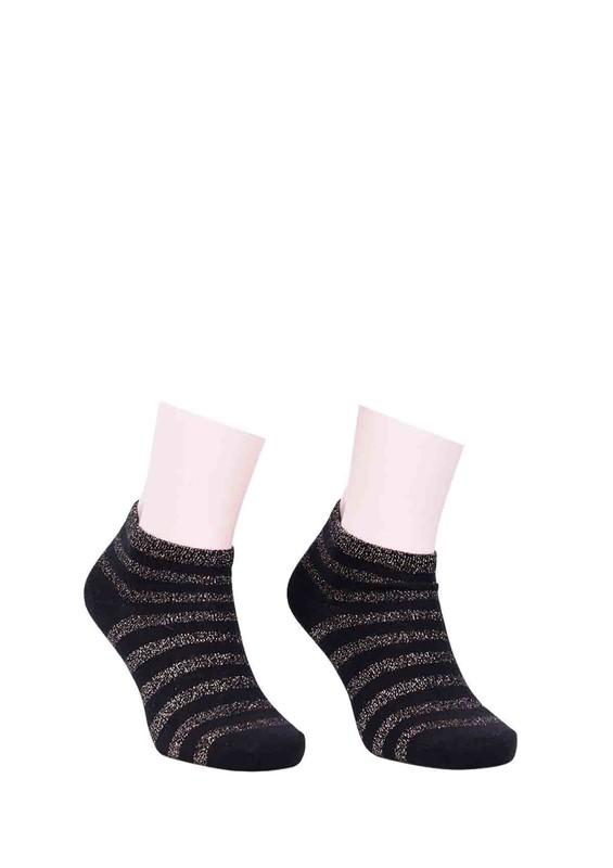 SARA DONNA - Desenli Simli Soket Çorap 100   Sarı