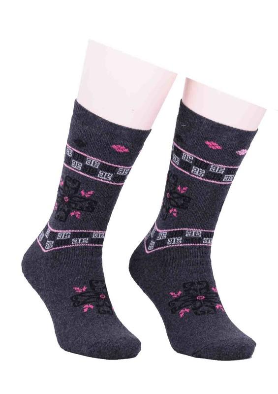 SİMİSSO - Arc Desenli Havlu Çorap 213 | Füme