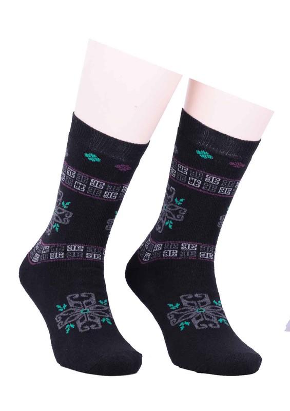 SİMİSSO - Arc Desenli Havlu Çorap 213 | Siyah