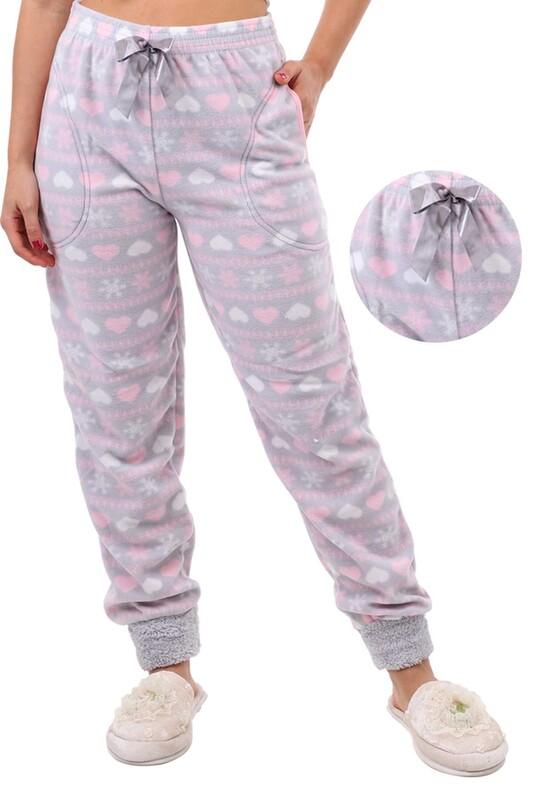 ARCAN - Arcan Kalp Desenli Polar Pijama Altı   Gri