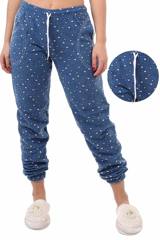 ARCAN - Arcan Kalp Desenli Polar Pijama Altı   Mavi