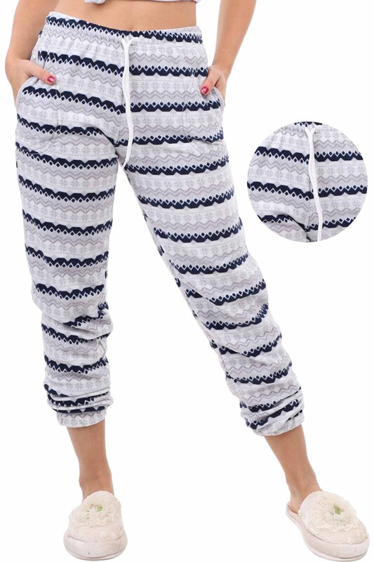 ARCAN - Arcan Çizgi Desenli Polar Pijama Altı | Gri