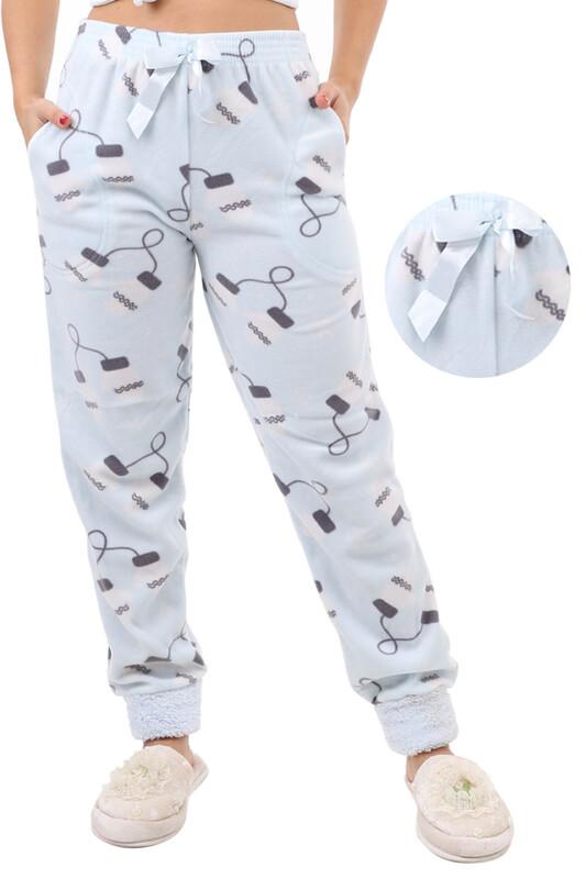 ARCAN - Arcan Eldiven Desenli Polar Pijama Altı   Mavi