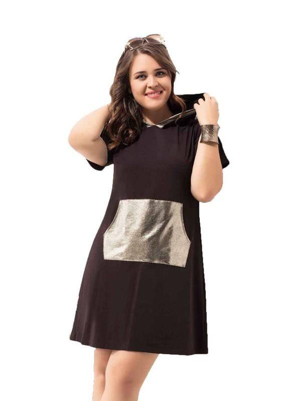 BYDON - ByDon Kısa Kollu Kapüşonlu Büyük Beden Elbise 9008 | Kahverengi