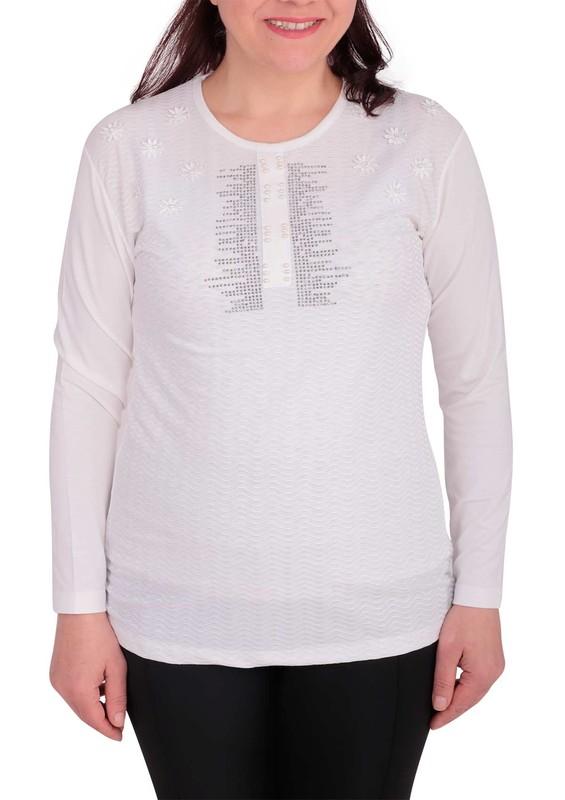GAMZEY - Yuvarlak Yakalı Yakası Çiçek ve Taşlı Bluz 021 | Beyaz