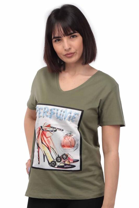NARSACE - Narsace Ayakkabı Baskılı Taşlı T-shirt 201 | Yeşil
