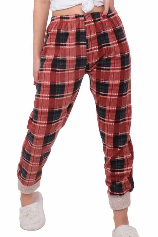 SİMİSSO - Kareli Polar Kadın Pijama Altı   Kırmızı