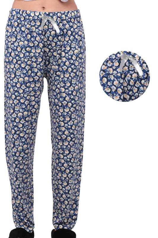 SİMİSSO - Çiçek Desenli Kadın Pijama Altı 1958 | Mavi
