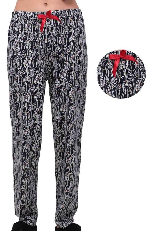 SİMİSSO - Yaprak Desenli Kadın Pijama Altı   Siyah