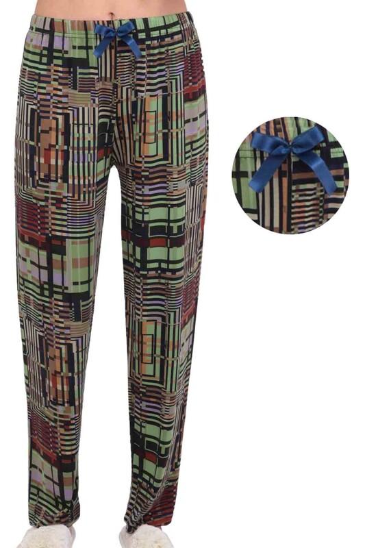 SİMİSSO - Çizgili Kadın Pijama Altı 2822 | Yeşil