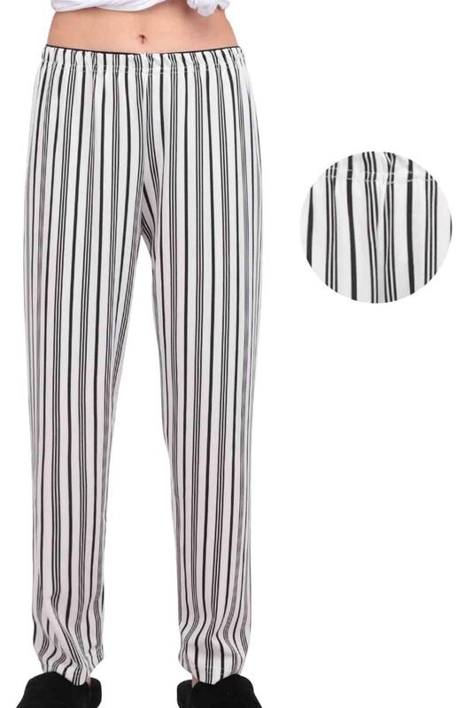 SİMİSSO - Çizgili Kadın Pijama Altı   Beyaz