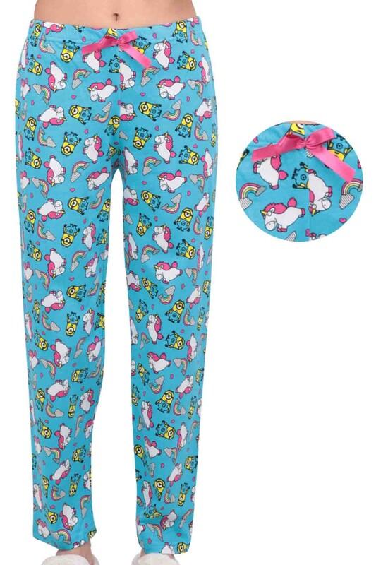 SİMİSSO - Unicorn Baskılı Kadın Pijama Altı   Mavi