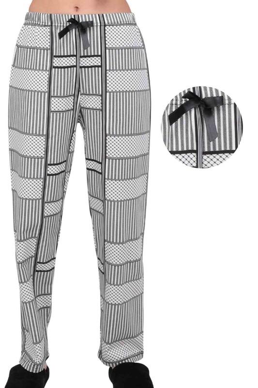 SİMİSSO - Desenli Kadın Pijama Altı 1907 | Siyah