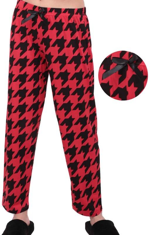 SİMİSSO - Geometrik Desenli Kadın Pijama Altı | Kırmızı